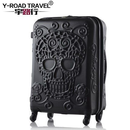 20'24'28' Skull Pattern Rolling Luggage Spinner Travel Suitcase Luggage Women Boarding Box Trolley Suitcases Trunk