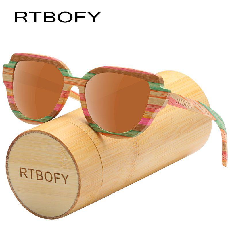 RTBOFY Wood Sunglasses Women Colorful Bamboo Frame Cat Eye Style Glasses Polarized Lenses Glasses Vintage Design Shades