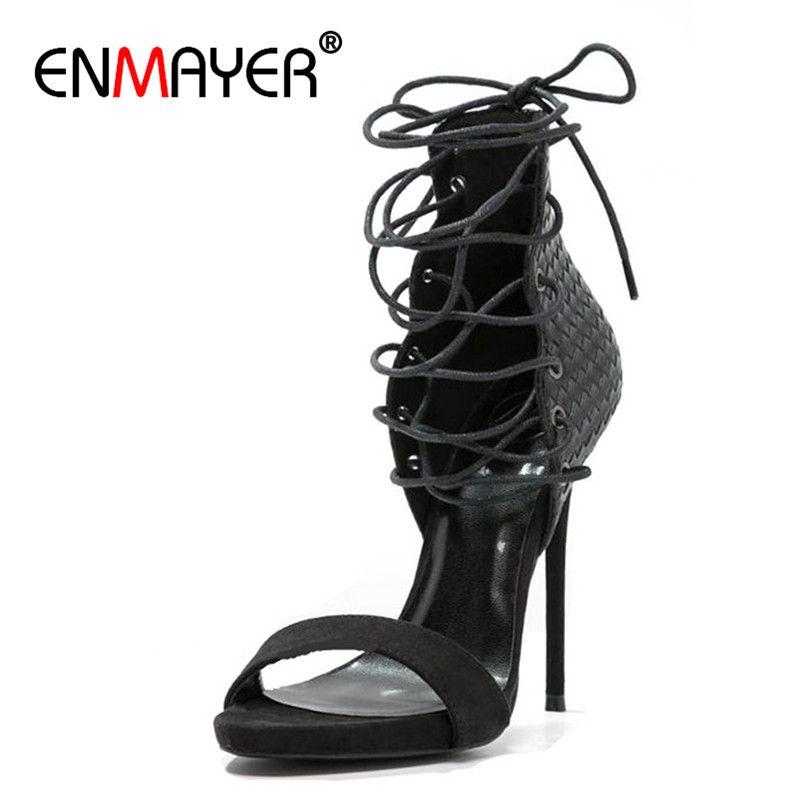 ENMAYER Abendessen High Heels Gladiator Sandalen Frauen Plus Größe 34*43 Open Toe Lace-up Schuh-gebunden Sommer Sandalen Schwarz Blau