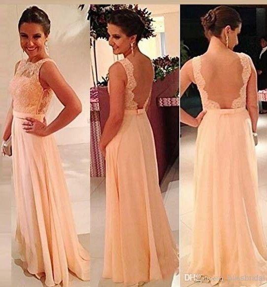2018 mejor popular Vestidos de dama de honor gasa piso-longitud color backless novias vestido en venta