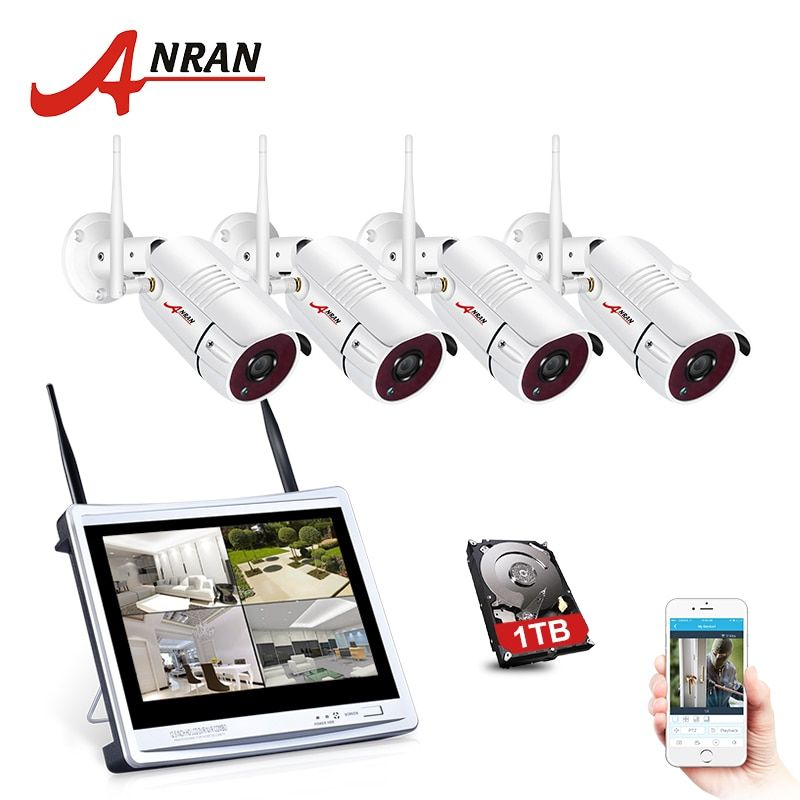 ANRAN P2P CCTV 1080P 4CH NVR 12 Inch LCD Monitor 36 IR Outdoor IP WIFI Camera Surveillance Security Wireless System Kit 2TB HDD