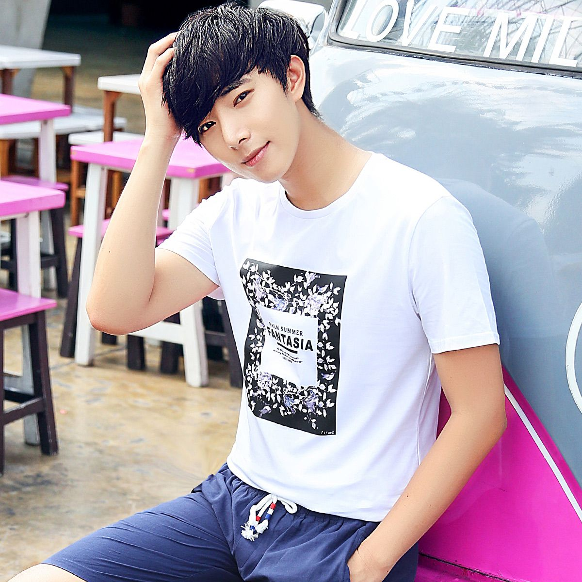 Summer male short-sleeve T-shirt men's clothing slim summer teenage casual o-neck t shirt clothes male