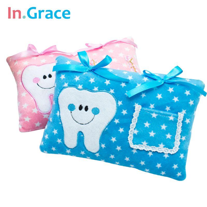 InGrace mignon doux dent fée oreiller pour garçons et filles étoile imprimé bébé oreiller une note PP coton à l'intérieur 21 CM * 15 CM livraison gratuite