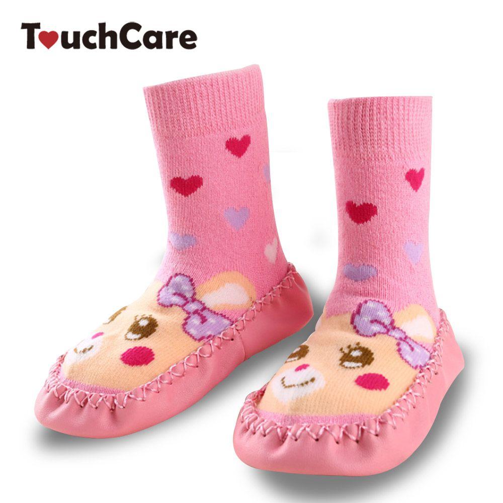Touchcare мультфильм кролик Детские носки малыша Шлёпанцы для женщин ботинки с высоким голенищем теплые носки Вязание мягкой кожаной подошве п...