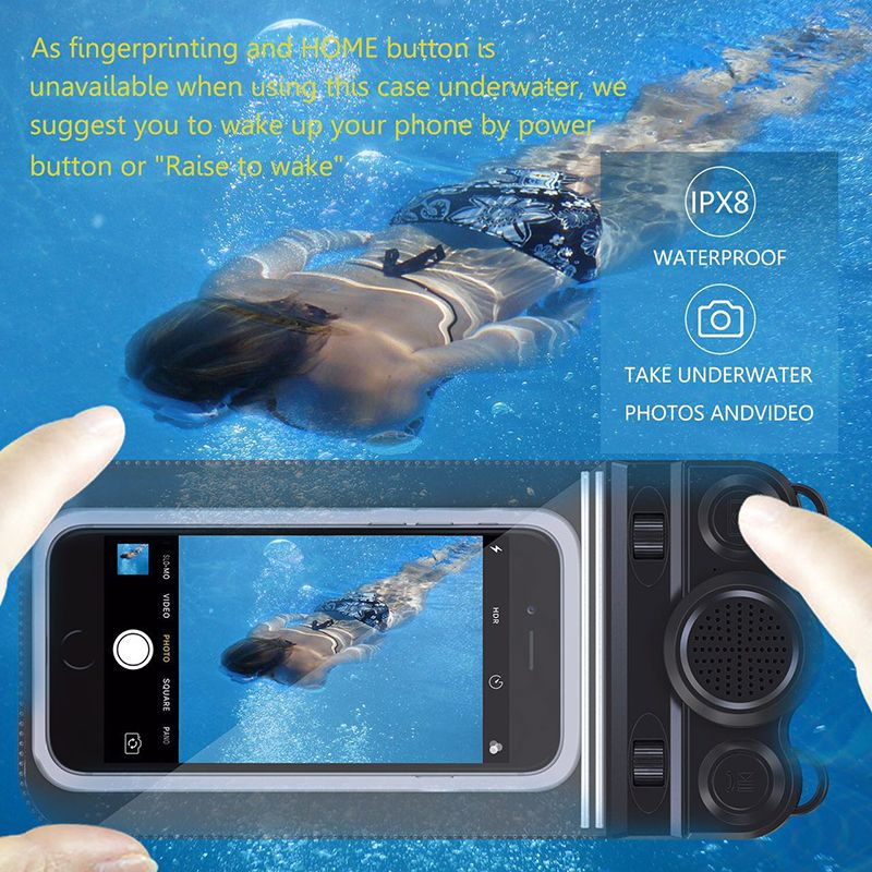 Universal 6 inchs IP68 Waterproof Phone Case Pouch Bag For iPhone 7 6 6s Plus Samsung Galaxy S8 S7 Edge Bluetooth Speaker Camera