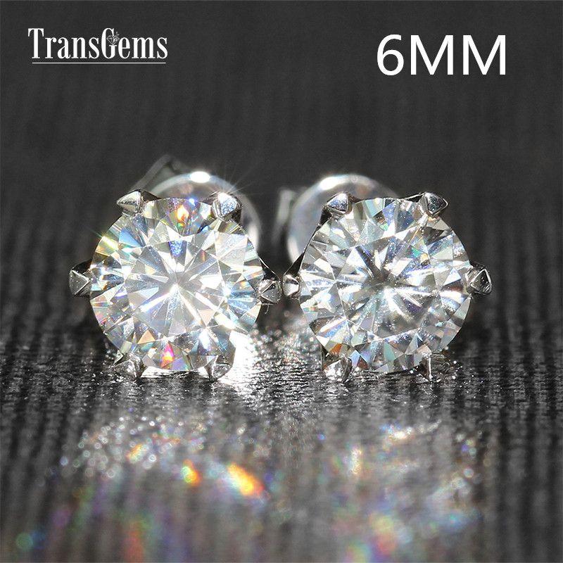 Transgems 14K 585 White Gold 1.6CTW 6mm lab Created Moissanite Diamond Stud Earrings For Women Srew Back Earrings