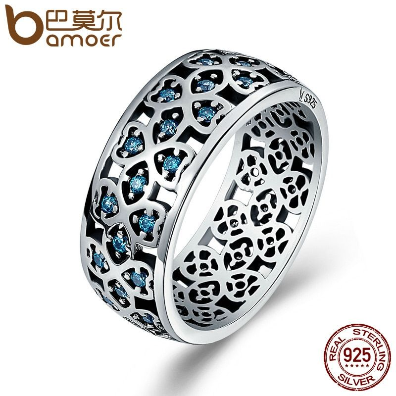 BAMOER 100% 925 Sterling Silver Petals of Love Sweet Clover Blue CZ Finger Rings for <font><b>Women</b></font> Engagement Jewelry S925 Gift SCR064
