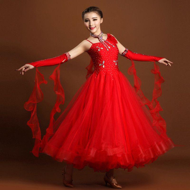 Exquisite luxus rhinethone ballroom dance kleider standard gesellschaftstanz kleidung Wettbewerb standard-tanzkleid walzer