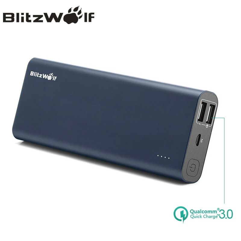 BlitzWolf BW-P5 15600mAh Quick Charge QC3.0 <font><b>Dual</b></font> USB Portable External Battery Charger Power Bank For iPhone For Samsung Power