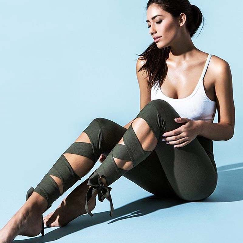 GERTU 2018 New <font><b>Arrival</b></font> Black Bandage Cross Leggings Women High Waist Fashion Sporting Pants Fitness Gymming Lady Capris Legging