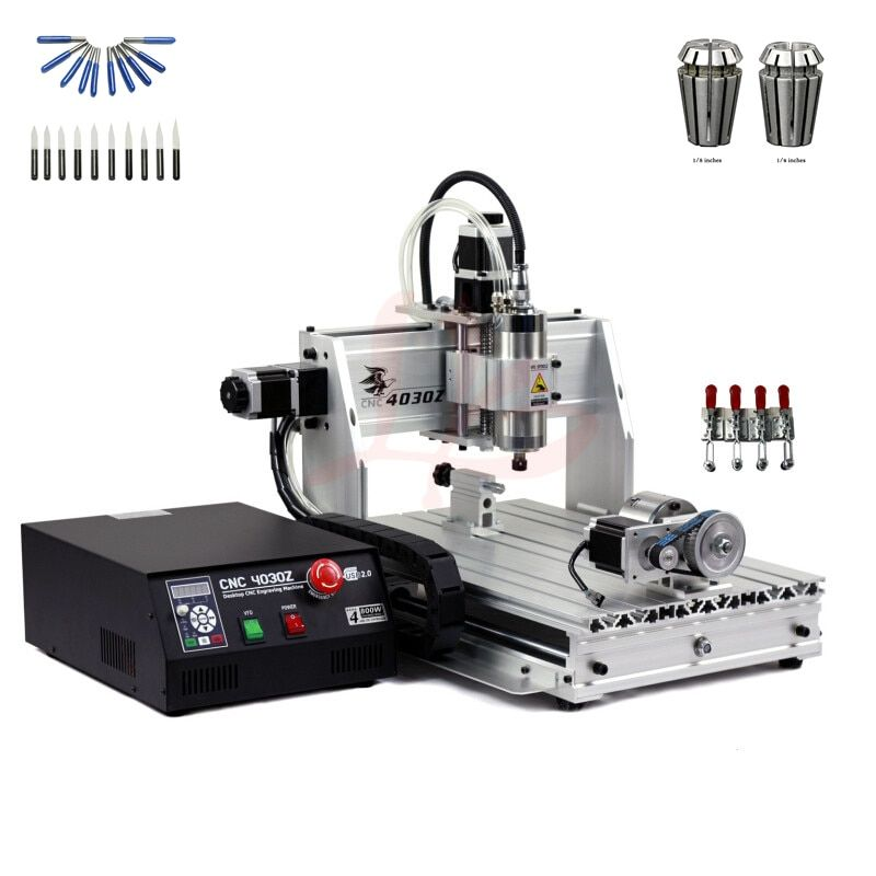 800W spindle 4axis mini diy cnc lathe engraving drilling machine 3040 USB port wood router with free cutter er11 collet