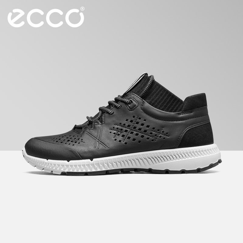 ECCO Fashion Mid Cow Leather Breathable Casual Walking Shoes Comfortable Men's Sports Shoes Outdoor Waterproof Sneakers Shoes