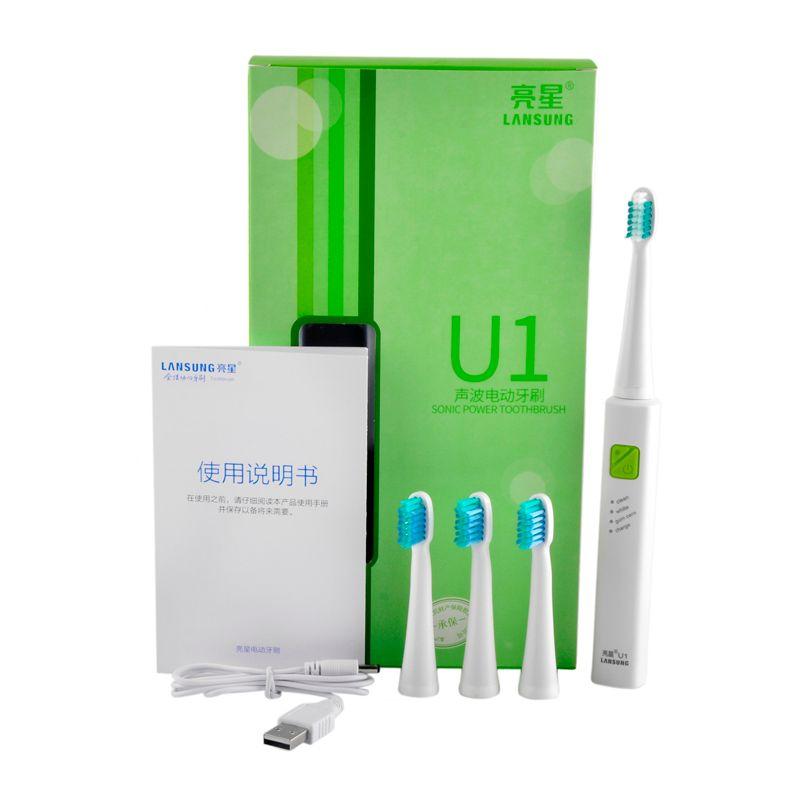 USB Charge LANSUNG Ultrasons Sonic Électrique Brosse À Dents Rechargeable Brosses À Dents Avec 4 Pcs Têtes de Rechange U1 Minuterie Brosse