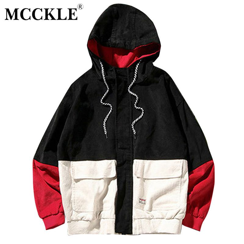 MCCKLE 2018 Spring Color Block Patchwork Corduroy Hooded Jackets Men Hip Hop Hoodies Coats Male Casual Streetwear Outerwear