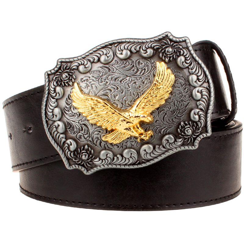 Ceinture en cuir pour hommes boucle en métal rétro aigle totem motif western style ceintures hommes Cowboy Bull ceinture femmes cadeau