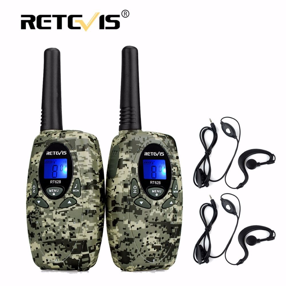 2pcs 4Colors Retevis RT628 Mini Walkie-Talkie+2pcs 1Pin Headset 0.5W 8/22CH PMR FRS/GMRS UHF Frequency Portable 2 Way Radio Set