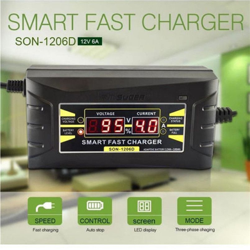 Car 12V 6A Smart Fast Lead-acid Battery Charger For Car Motorcycle LCD Display EU/US Charger Auto
