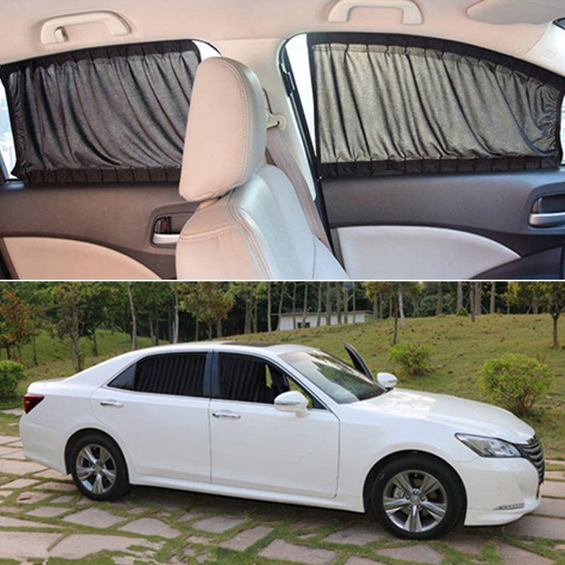 2pcs/set Car Curtains With Elastic Cord Auto Window Sun Visor Stretchable Aluminum Rail Car Side Window Sunshade Curtain S/L