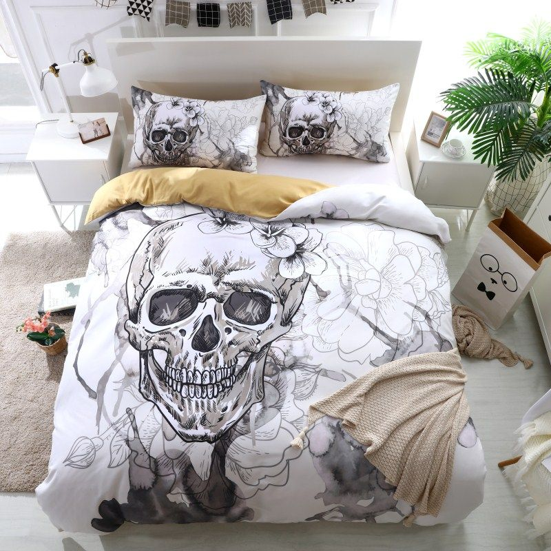 FANAIJIA 3d Flowers skull Duvet Cover With Pillowcases Sugar Skull Bedding Set Au Queen King Size Flower Soft Bed Covers