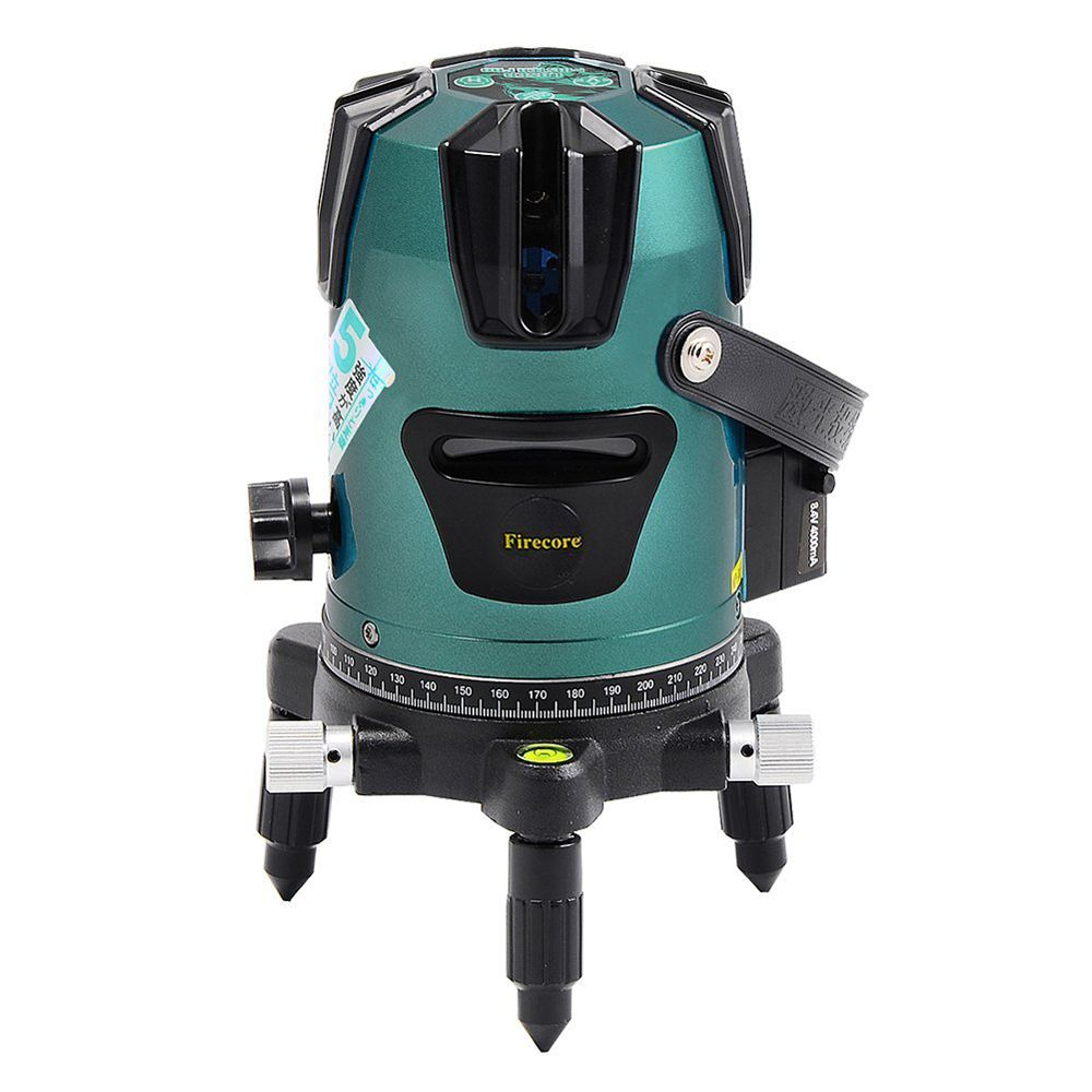 Firecore 5 Lines Tiltable Green Laser Level 360 Degree Rotary 3 Degrees Self- Leveling Cross Laser Line Outdoor Levels