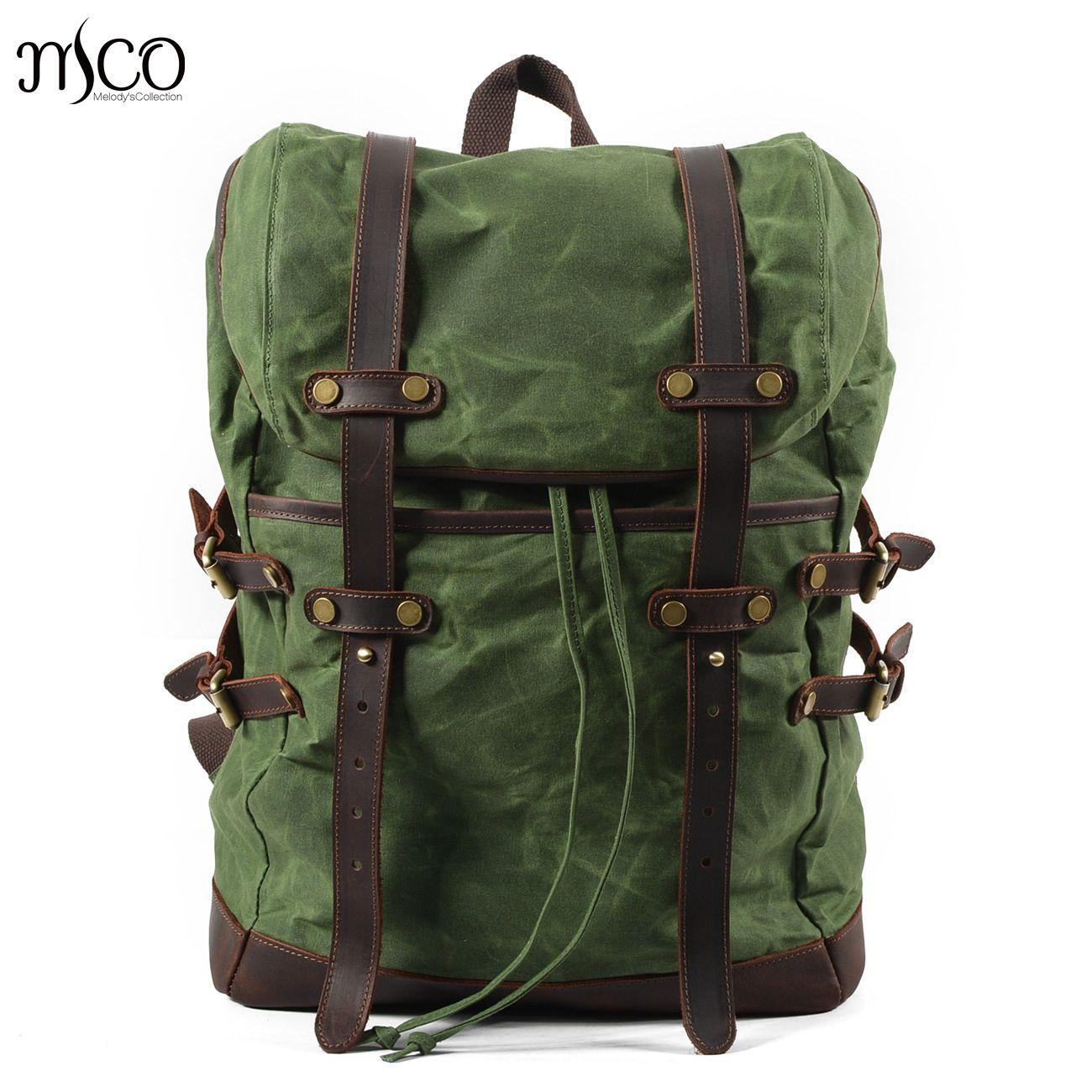 Men Backpacks Vintage Waxed Canvas Leather School Military Backpack Male Large Capacity Waterproof Bagpack Travel Rucksack Bag