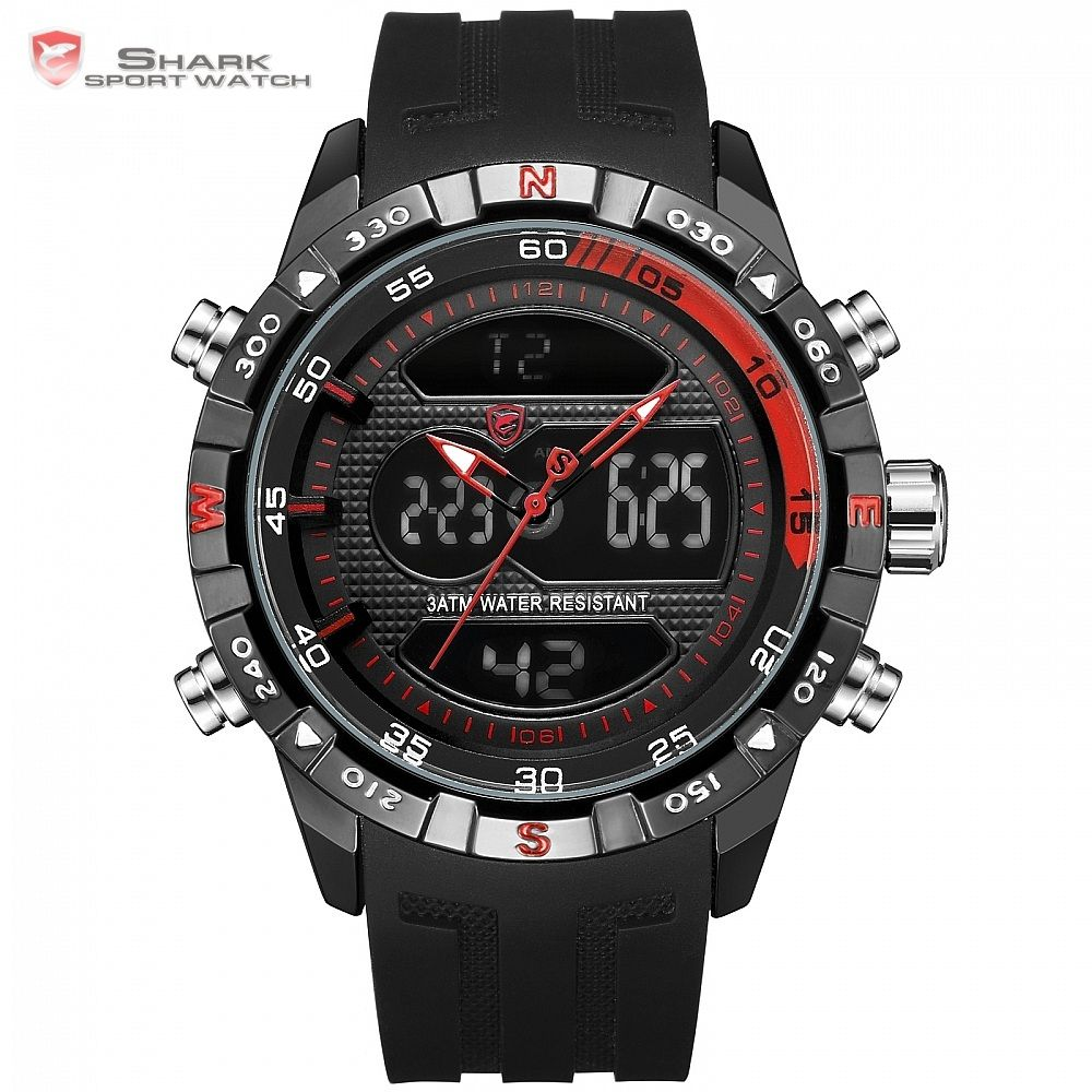 Top Brand SHARK Dual Display Sport Chronograph Digital LCD Auto Date Alarm Silicone Strap Wristwatches relogio masculino / SH598