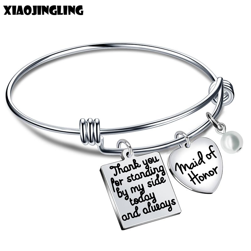XIAOJINGLING Hot Sale Stainless Steel Bracelets Heart Pearl Pendant Bangles For Bridesmaid Wedding Gifts Fashion Women Jewelry