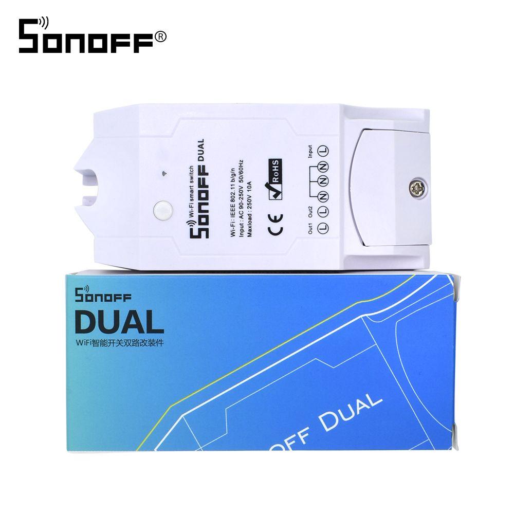 Itead SONOFF double sans fil WIFI commutateur Module relais 10A 220V bricolage Timing wi-fi pour Smart domotique télécommande