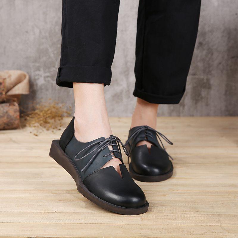 2019 printemps été femmes chaussures appartements en cuir véritable bout rond à lacets couleur mélangée à la main rétro femmes appartements
