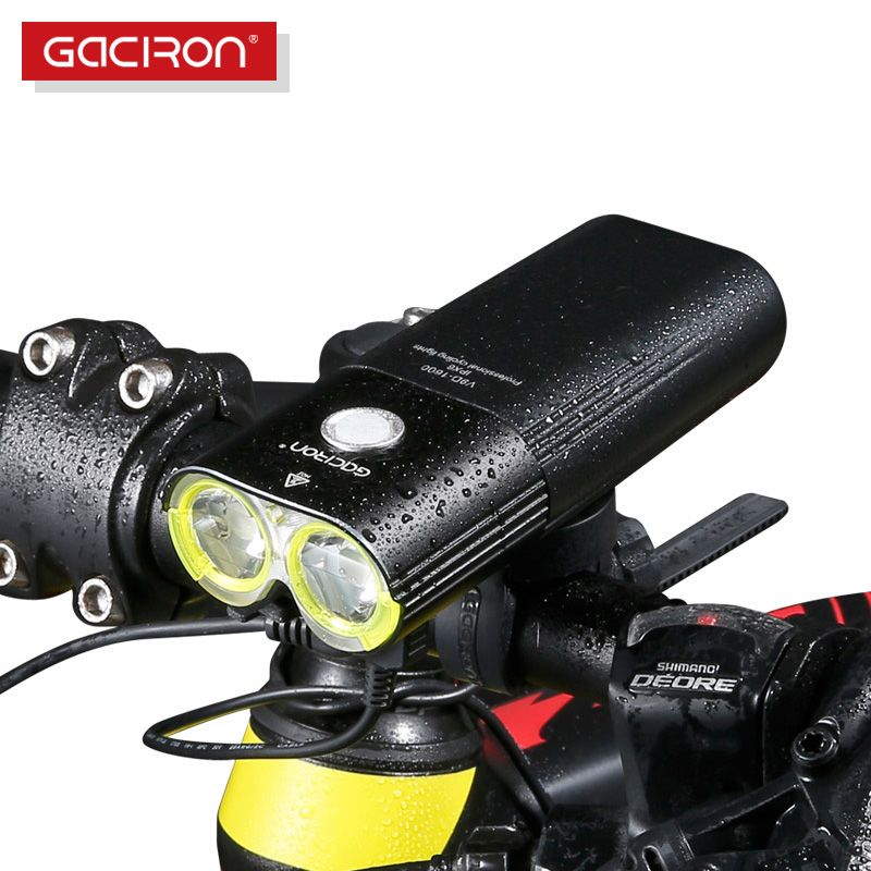 GACIRON Professional 1600 Lumens Bicycle Light Power Bank Waterproof USB <font><b>Rechargeable</b></font> Bike Light Flashlight