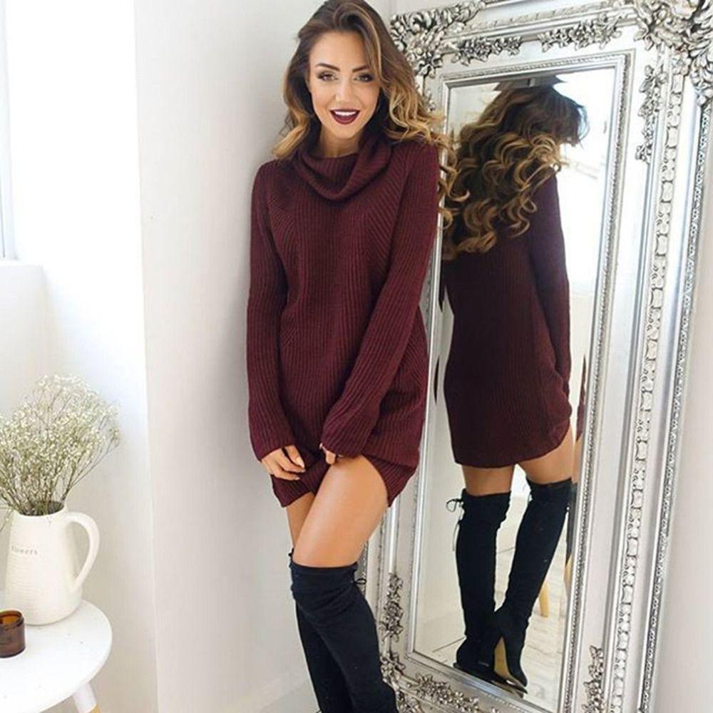 Femmes Col Roulé Tricoté Chandails 2018 Nouveau Printemps Automne Manches Longues Lâche Élastique Femelle Pull Long Pull Femme Sweter Mujer
