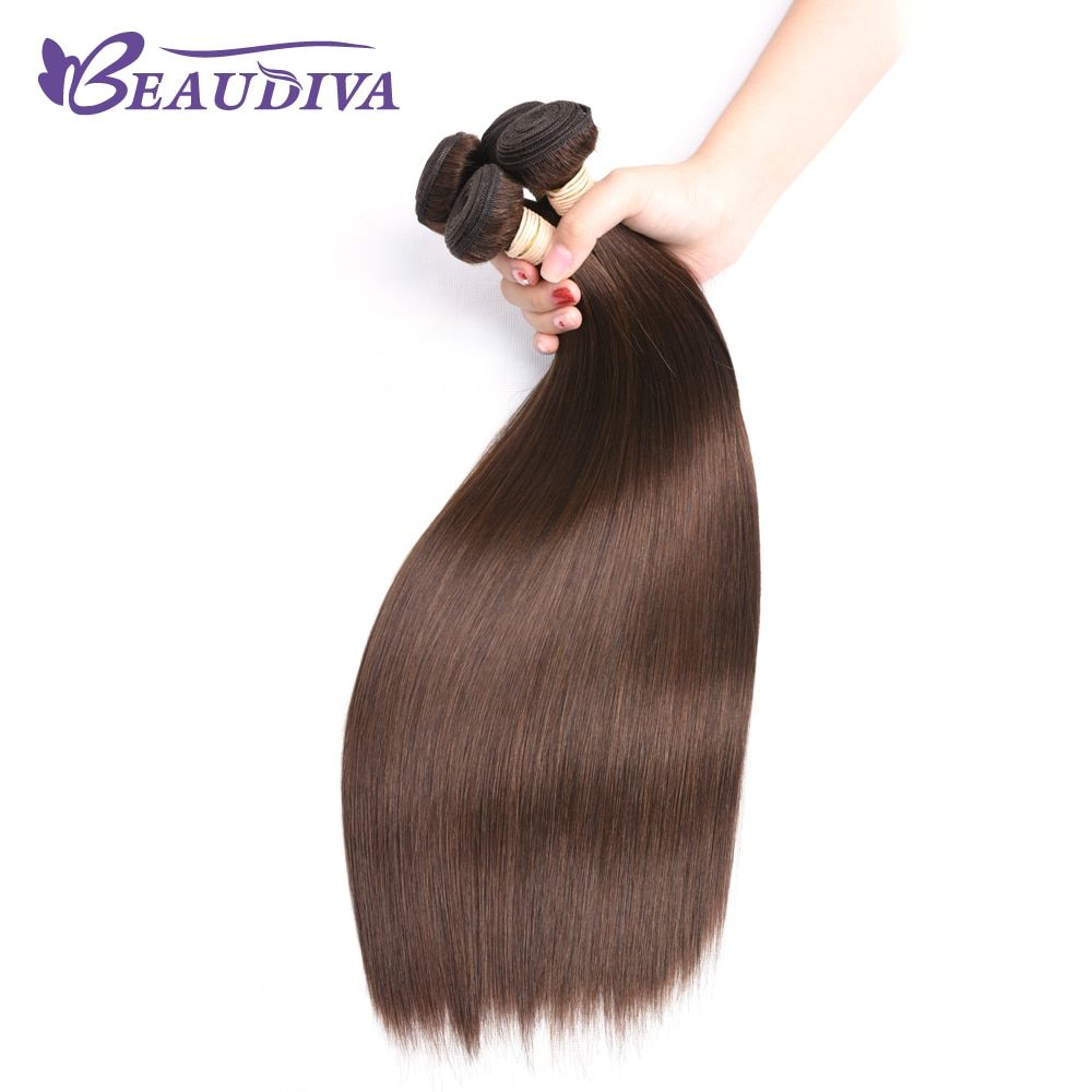 BEAUDIVA Pre-Colored Human Hair Weave Brazilian Straight Hair 3PCS Lot #4 Medium Brown Straight Remy Hair Bundles