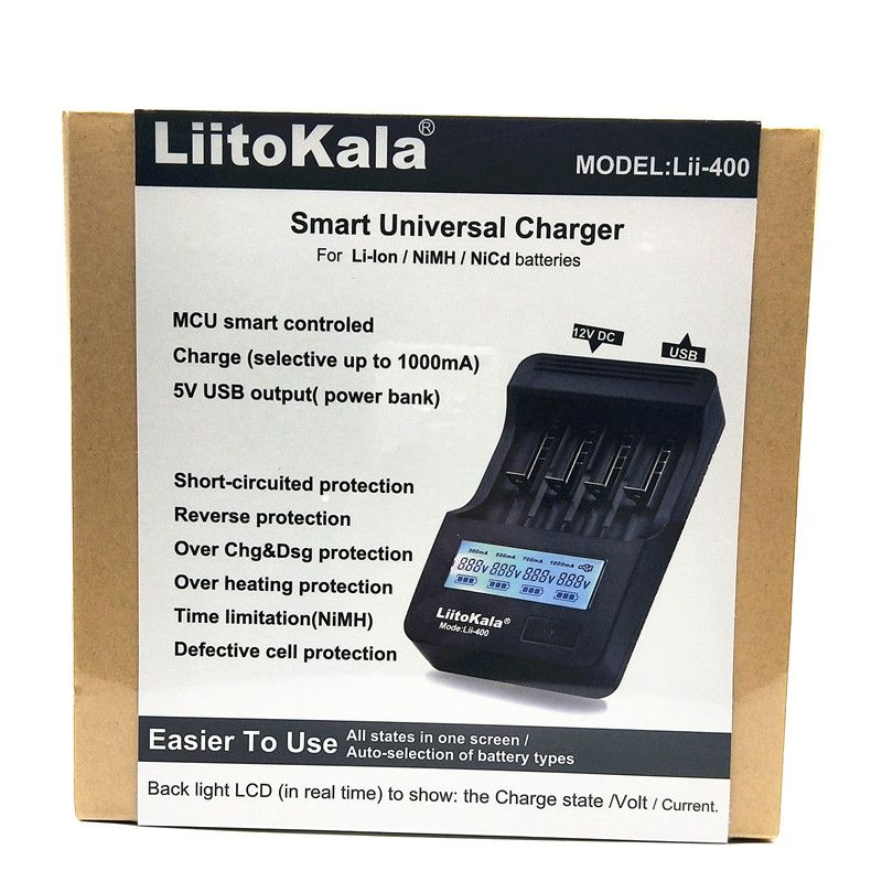 NEW LiitoKala lii-400 LCD 3.7V/1.2V AA/AAA 18650/26650/16340/14500/18500 Battery Charger with screen (lii400+12V2A adapte+car)