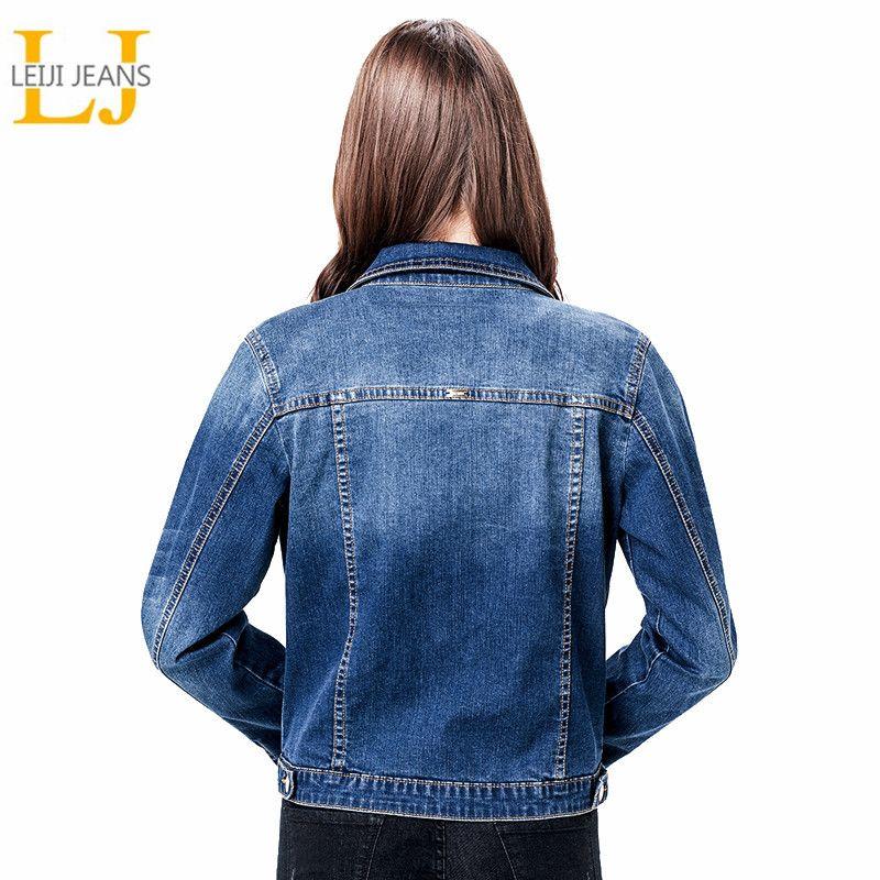 2019 LEIJIJEANS Femmes Plus Taille 6XL long basical jeans veste manteau Bleach Complet Manches Unique Du Sein Mince Femmes Denim Veste