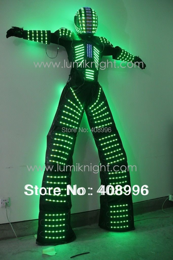 LED robot costume /David Guetta LED robot suit/ illuminated kryoman Robot