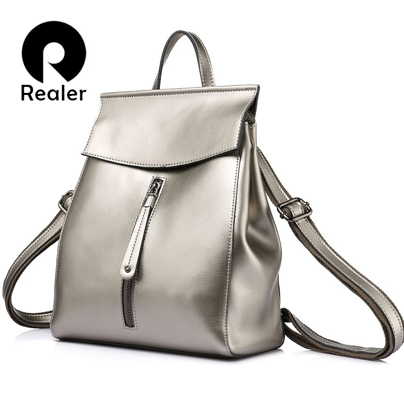 REALER women backpack high quality cow split leather backpacks ladies shoulder bags female school bag for teenage girl fashion