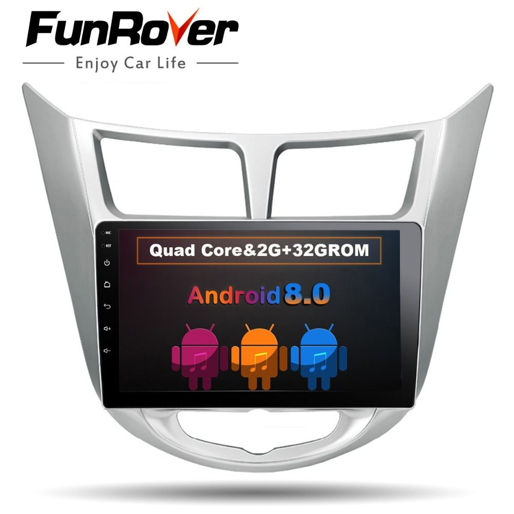 Funrover Android 8.0 2 din Car DVD GPS for Hyundai Solaris 2011 2012 2014 2015 2016 radio tape recorder video player USB wifi BT