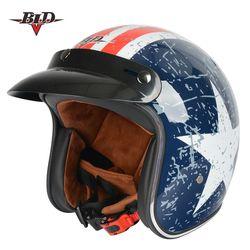 Venta caliente Bld moto rcycle casco Jet casco vintage cara abierta retro 3/4 medio casco moto capacete moto ciclismo