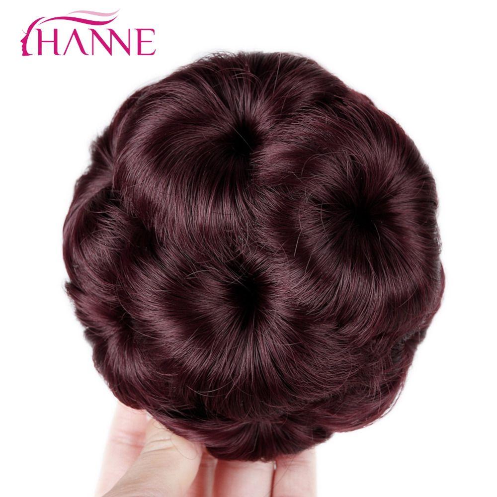 HANNE Mujeres Clip En Extensiones del Hairpiece Moño Moño Buñuelo Del Pelo Negro/Marrón/Rojo de Fibra Sintética de Alta Temperatura Chignon