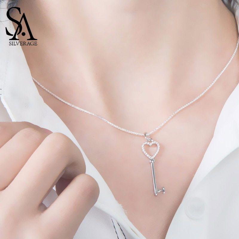 SA SILVERAGE 2018 femmes coeur forme porte-clés colliers réel 925 en argent Sterling colliers Fine bijoux pendentifs pour femmes