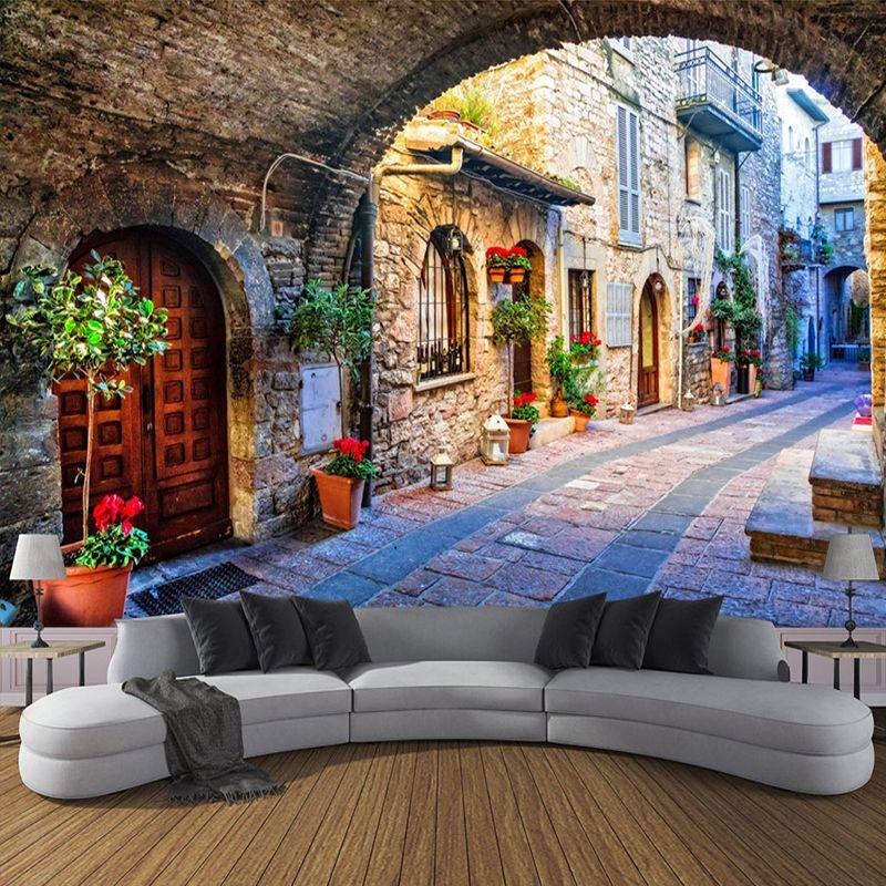 Vliestapete Kundenspezifisches Foto Tapeten Wandbild 3D Italienischen Stadt Straße Anzeigen Europäischen Landschaft Wandverkleidung Papel De Parede