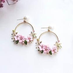 MENGJIQIAO 2018 новый элегантный большой круг цветок висячие серьги для женщин мода имитация жемчуга горный хрусталь букле D'oreille