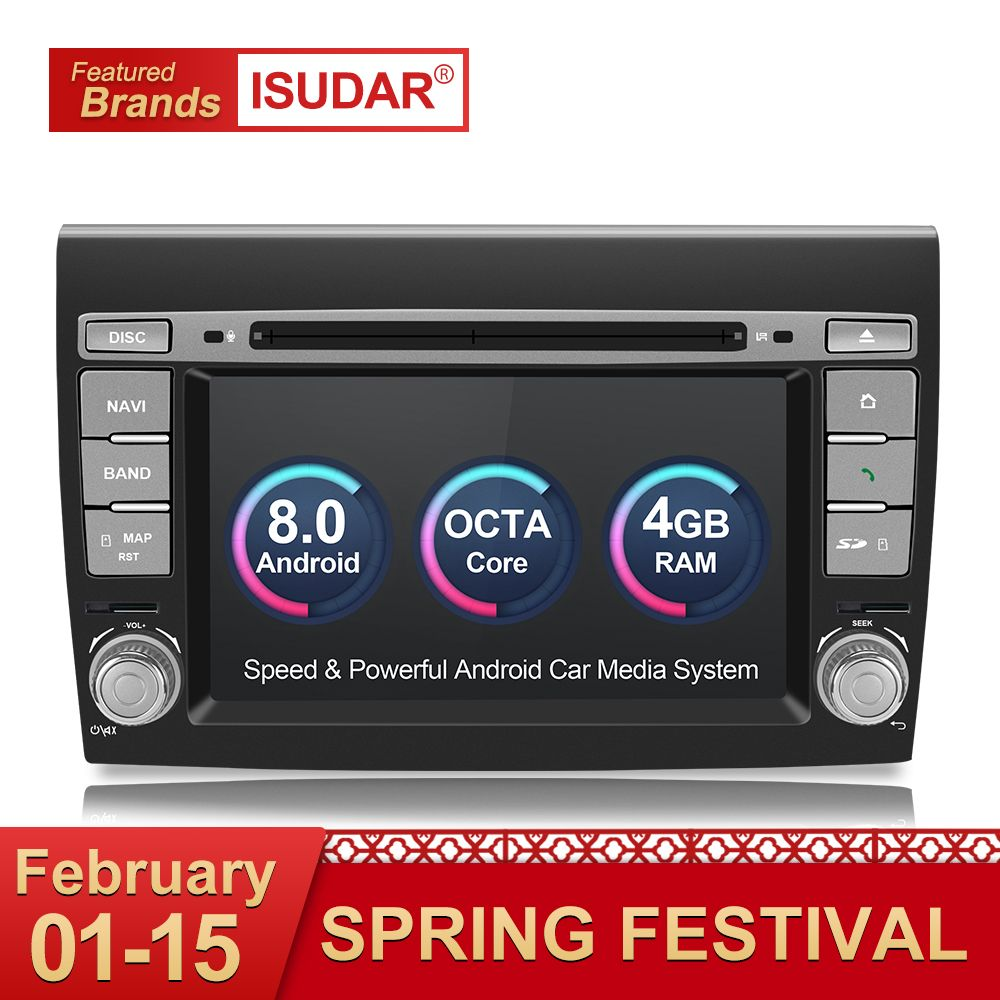 Isudar Auto Multimedia Player Android 8.0 GPS 2 Din Stereo System Für Fiat/Bravo 2007-2012 Octa Core 4 GB RAM Radio am fm Wifi USB