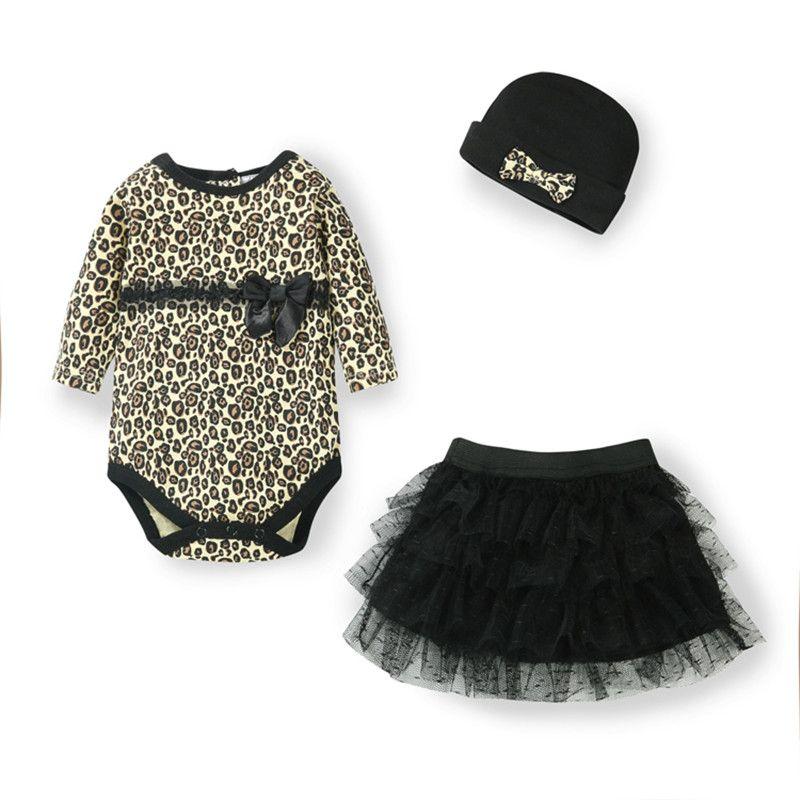 Nouveau-Né Bébé Fille Vêtements léopard 3 pcs Costume: Barboteuses + Tutu Jupe Robe + Bandeau (chapeau) mode Enfants Vêtements Pour Bébés Ensembles