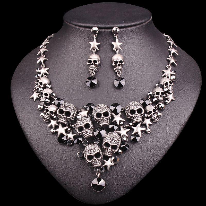 New Punk Rhinestones Skeleton Statement Necklace & Earrings Sets Vintage Skull Jewelry Sets Retro Stars Jewellery Gift for Women