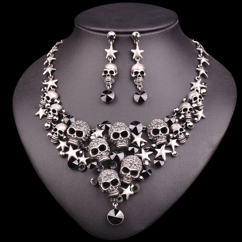 Vintage Skull Jewelry Sets Statement Necklace & Earrings Sets Retro Skeleton Jewellery Halloween Costume Accessories for Women