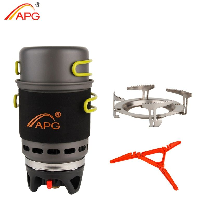 APG Camping Cookware Bowl Pot Pan Tableware Combination Gas Cooking System Outdoor Cooker Portable Gas Stove Propane Burners