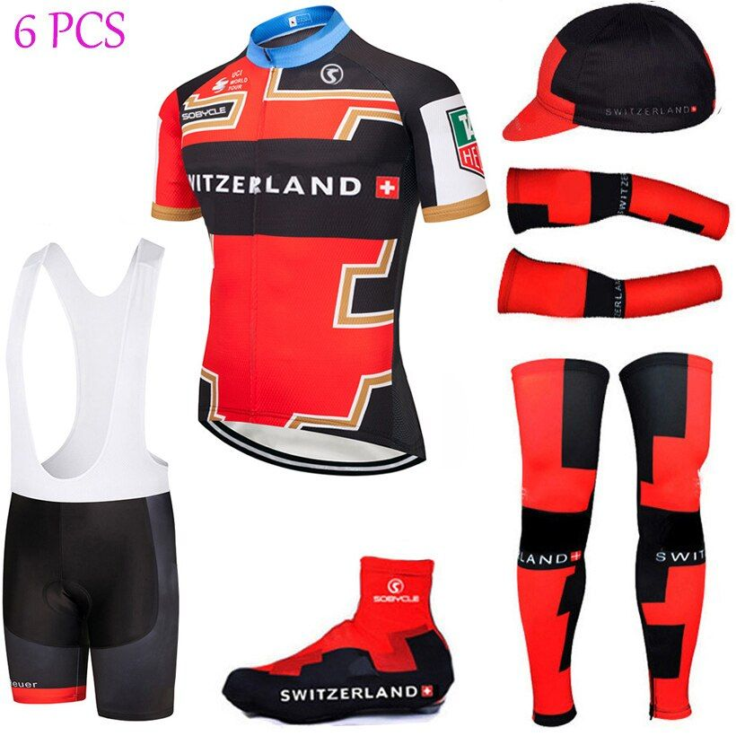 UCI team 2018 switzerland cycling jersey Bike shorts suit with cycling warmers shoes cover ropa ciclismo BICYCLE Maillot Culotte