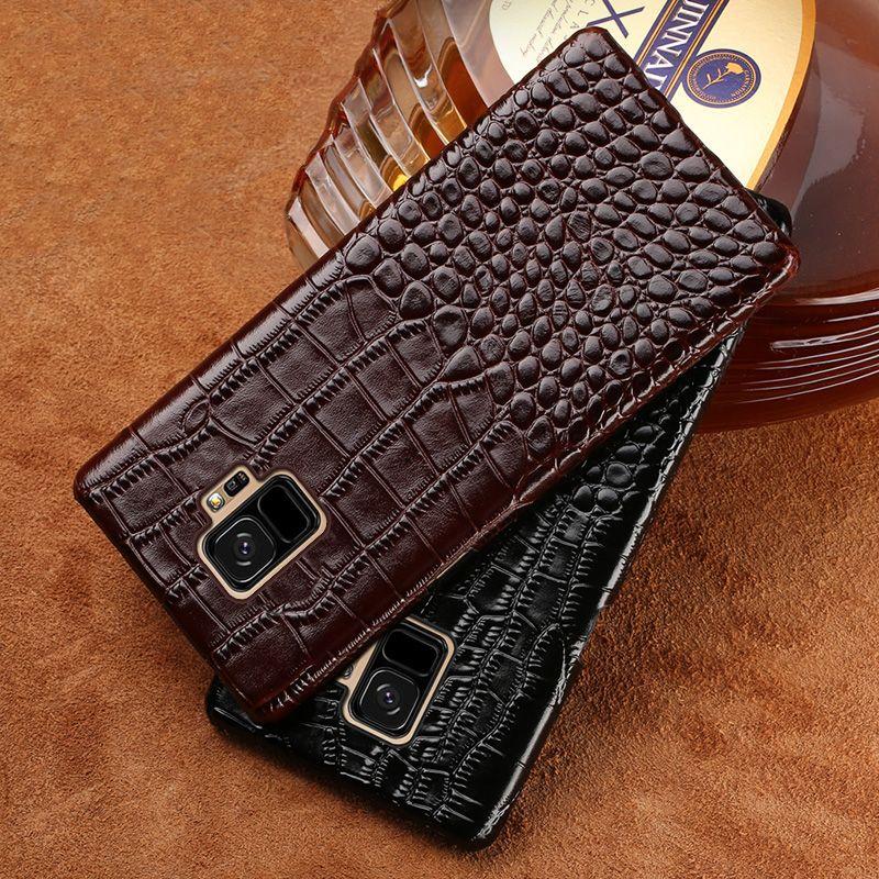 En Cuir véritable Crocodile texture téléphone étui pour samsung S10 plus S9 S8 note 9 8 protecteur luxueux étui pour samsung A70 A50
