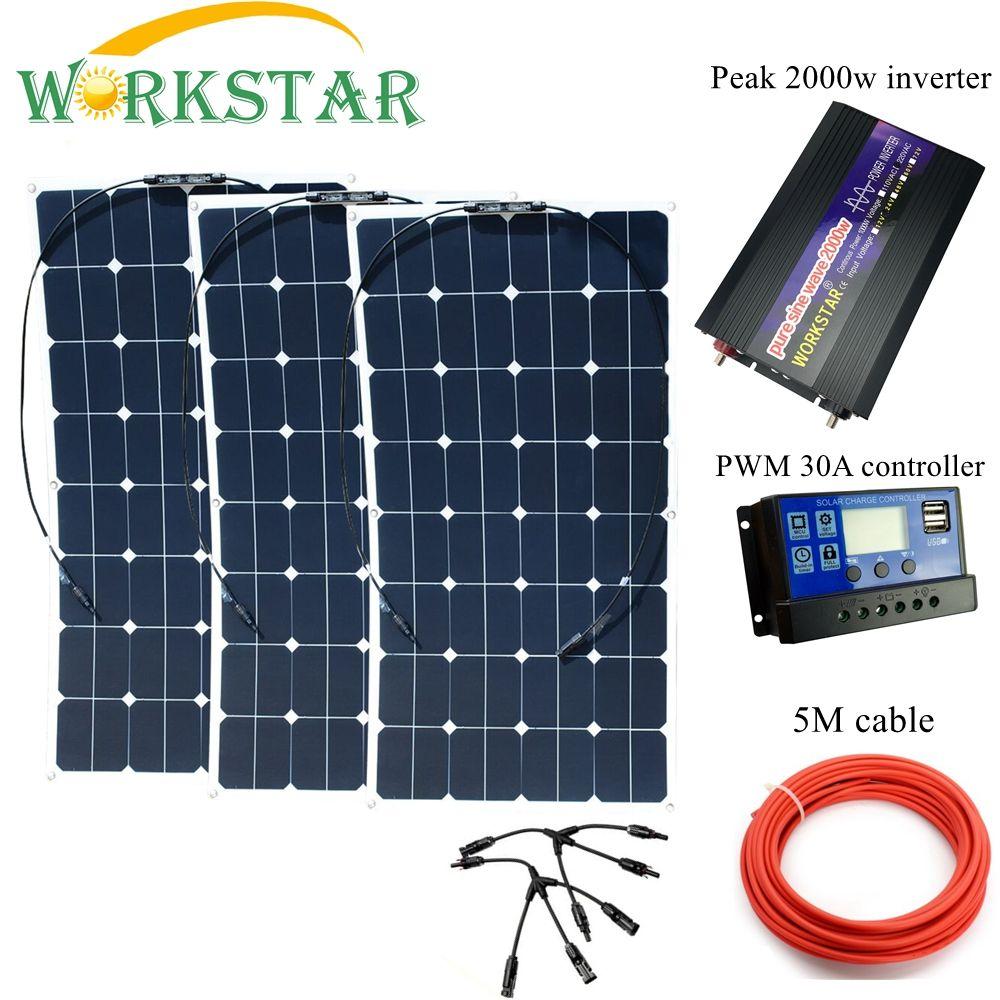 SUCHWORK 3*100 W Sunpower Flexible Solar Panels mit 30A Controller und 2000 W Inverter 300 W solar System kit für Anfänger